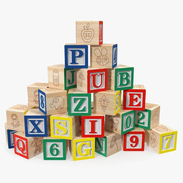 baby alphabet wooden blocks letters 3D