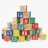 baby alphabet wooden blocks letters 3D