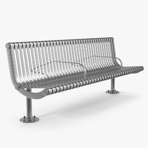 chrome coated bench 3D