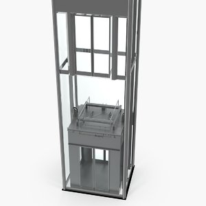 panoramic glass elevator 3D