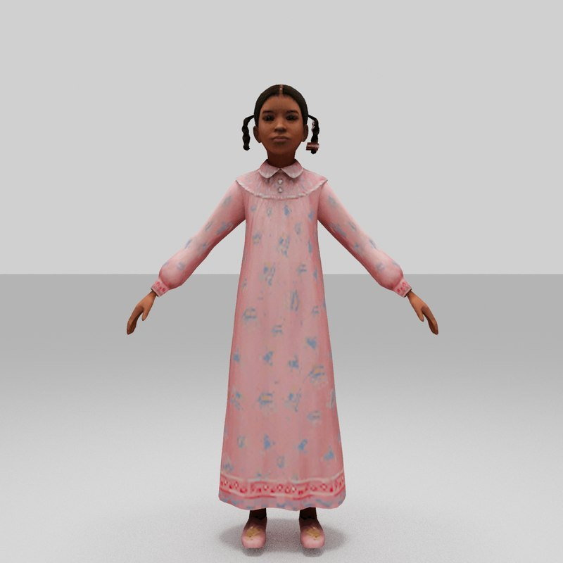 3D kid girls model