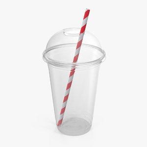 3D plastic cup straw