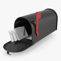 Personal Mailbox with Envelopes 3D Model