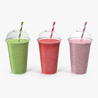 Various Fresh Fruits Coctails in Plastic Cup with Straw 3D Model