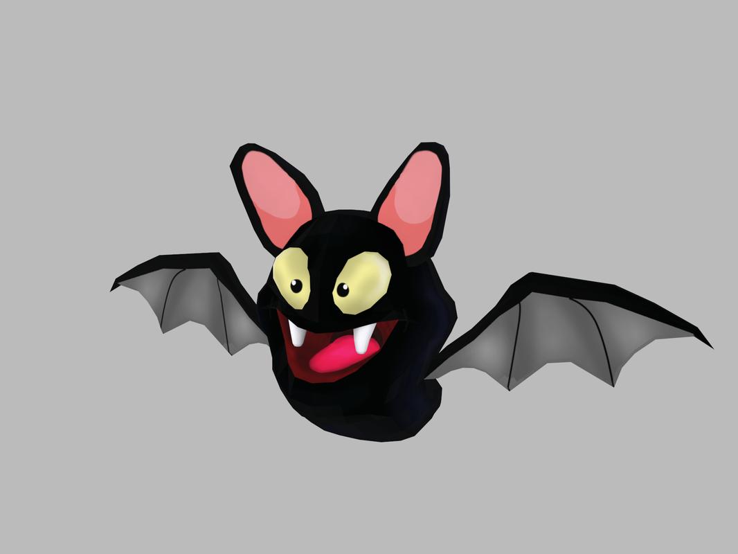 3D black bat cartoon model