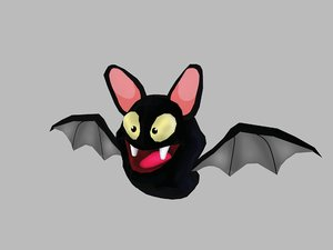 3D black bat cartoon model