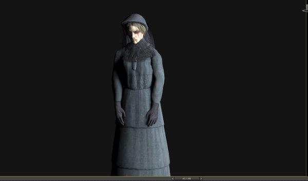 ghost woman black 3D model
