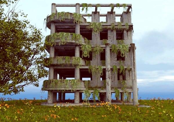 post apocalypse building 3D model