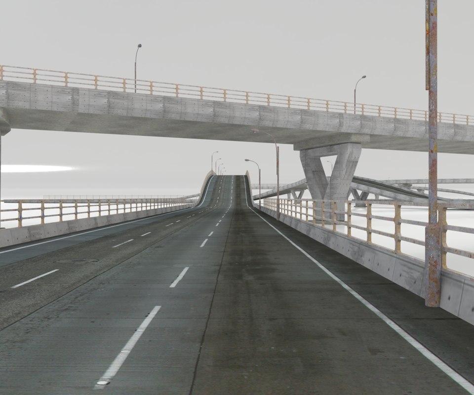 set roads fence bridge 3D model