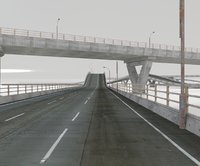 set roads fence bridge 3D model