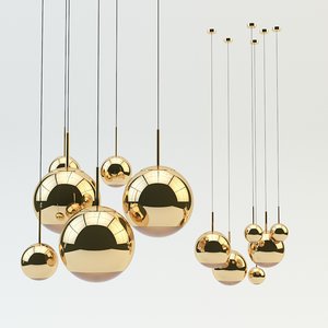 3D mirror ball pendant gold