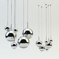 mirror ball pendant chrome 3D