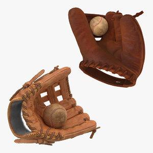 3D model baseball gloves ball