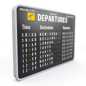 3D departures board