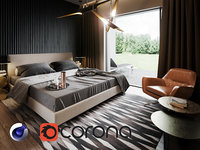 3D interior corona renderer bed