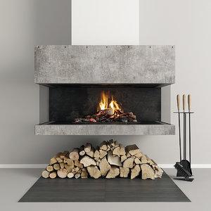 3D model fireplace modern