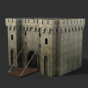 blender gate medieval 3D model