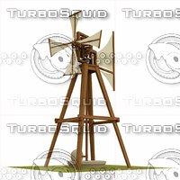 windmill leonardo da 3D