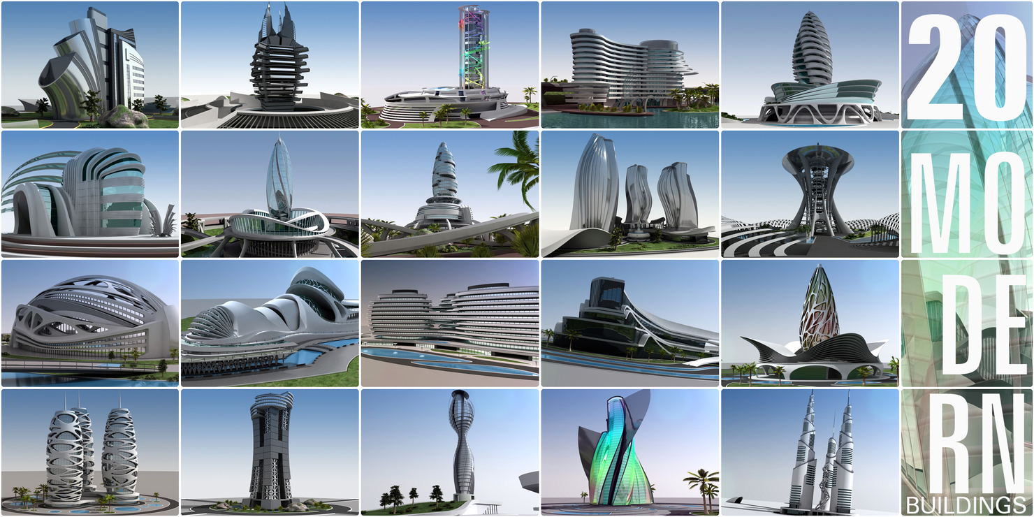 3D model originally modern buildings