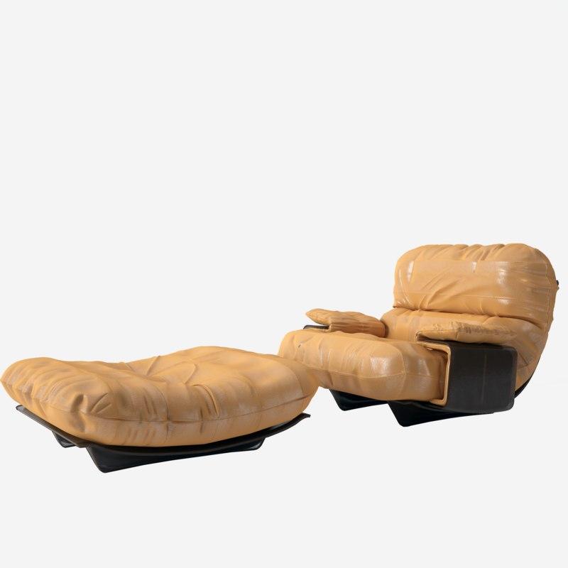 3D armchair ottoman model