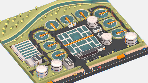 3D model isometric water treatment plant