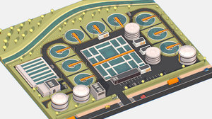 3D model isometric water treatment plant