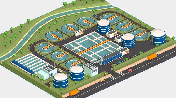 isometric water treatment plant 3D model