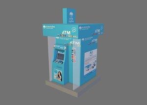 atm machine kiosk booth 3D model