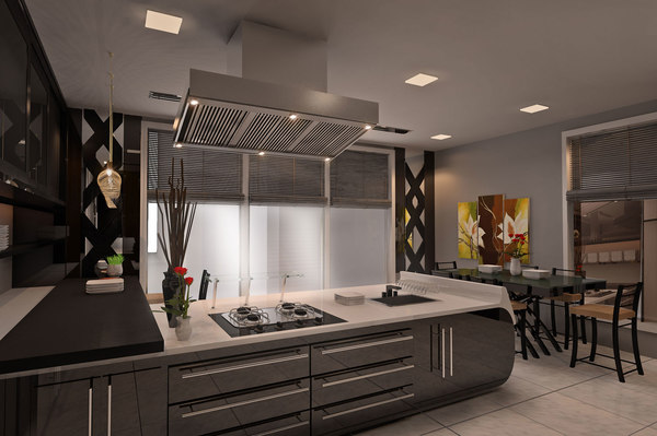 modern kitchen autocad drawings 3D
