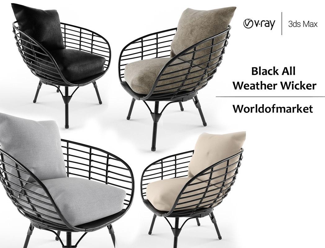 3D model black weather wicker