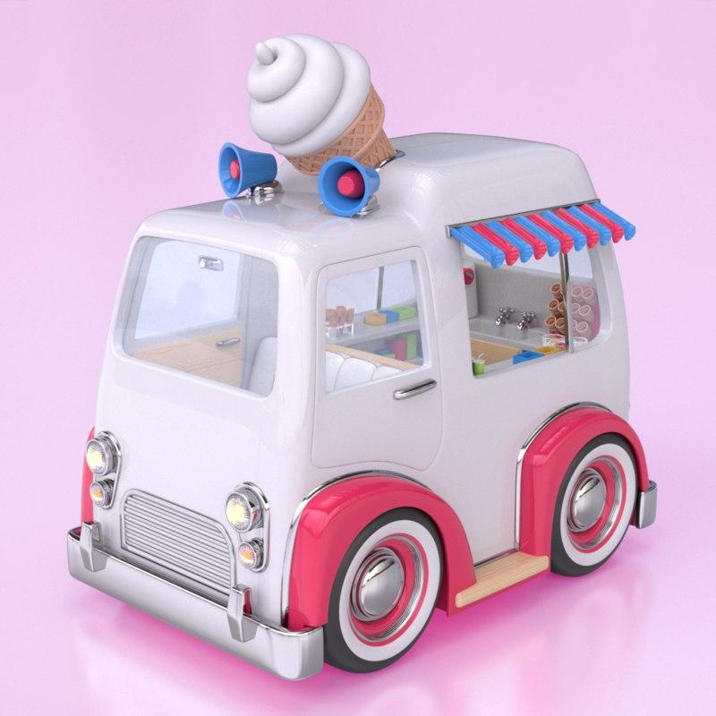 3d cartoon style ice cream
