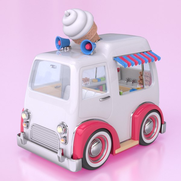 3d cartoon style ice cream