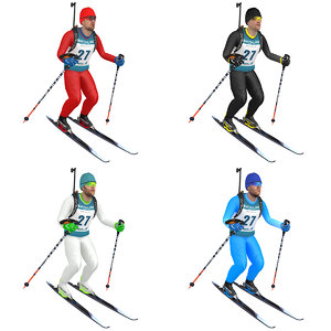 3D model pack rigged biathlon skier