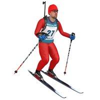 rigged biathlon skier ski 3D