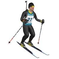 rigged biathlon skier ski 3D model