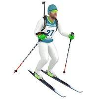 3D rigged biathlon skier ski
