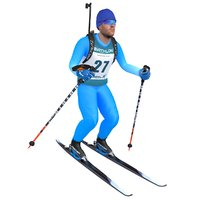 rigged biathlon skier ski 3D model
