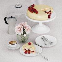 Raspberry cake desert