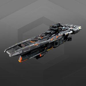 starship spacecraft 3D model