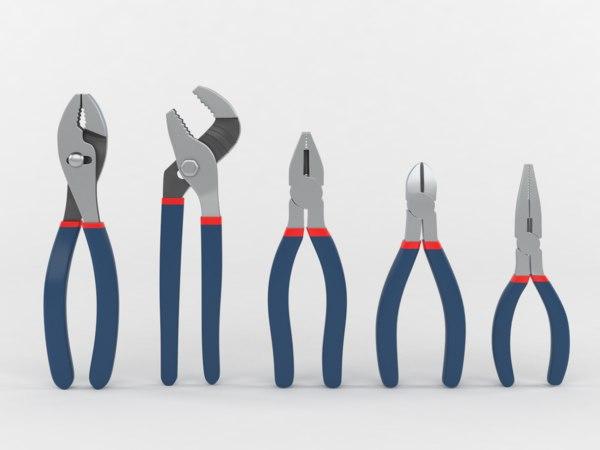 3D 5-piece pliers set model