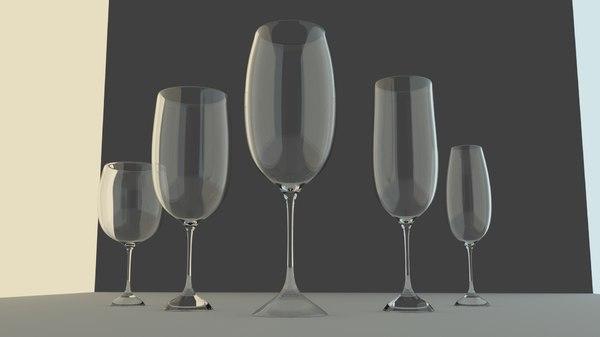 3D wine glasses set model