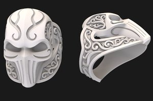 3D jewellery silver ring mask model