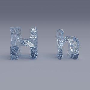 letter h bubbles 3D model