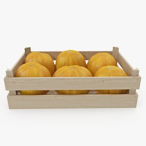3D model melon wooden crate