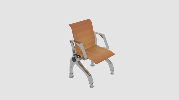 single wooden waiting chair 3D model