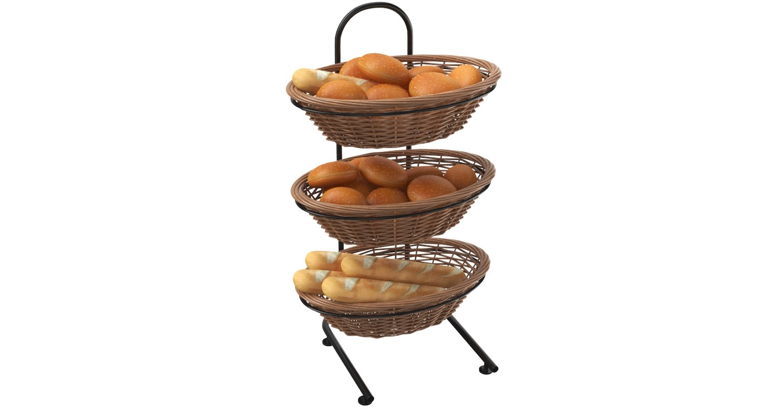 bread display basket stand 3D