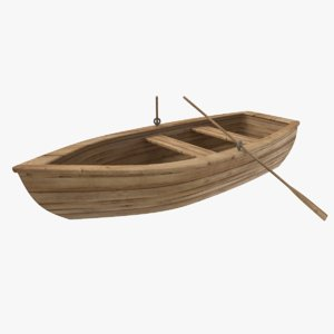 old wooden boat 3D model