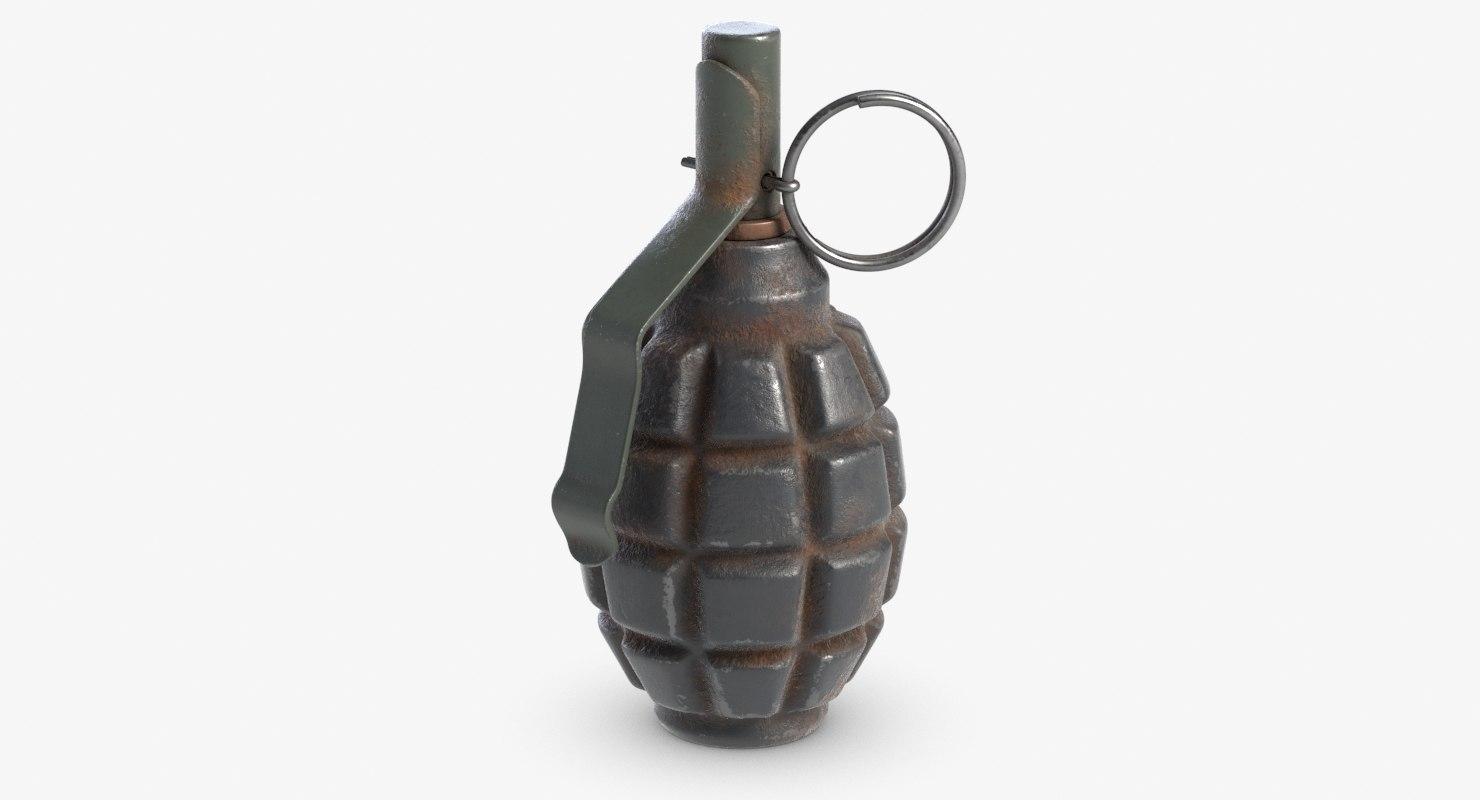 grenade f1 rusty 3D