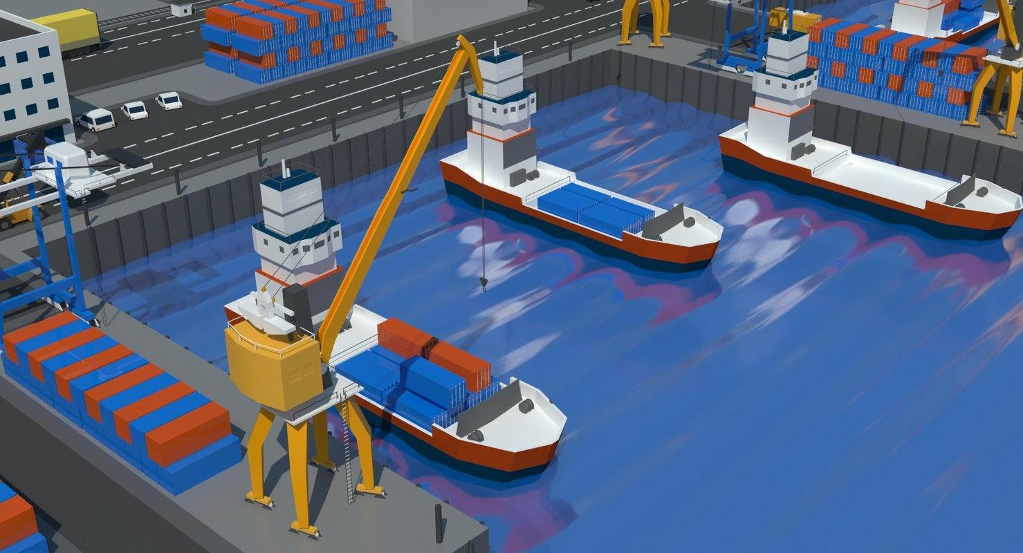 3D port scene