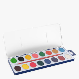 watercolors set 3D